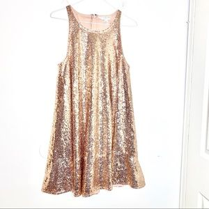 Lauren Conrad runway sz 6 sequin dress rose gold